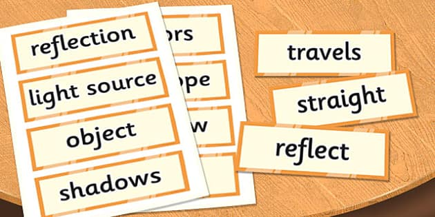 Year 6 Light Scientific Vocabulary Cards - vocabulary, cards