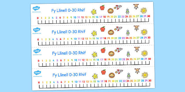 Welsh Number Line 0-30 - welsh, number, line, 0-30, numbers