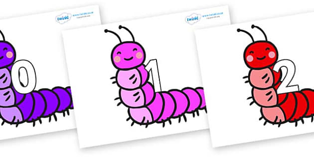 Numbers 0-100 on Caterpillars - 0-100, foundation stage numeracy, Number recognition, Number flashcards, counting, number frieze, Display numbers, number posters