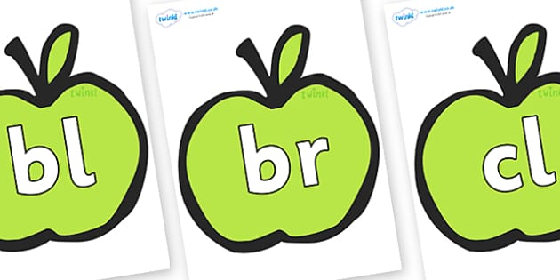 Initial Letter Blends on Apples - Initial Letters, initial letter, letter blend, letter blends, consonant, consonants, digraph, trigraph, literacy, alphabet, letters, foundation stage literacy