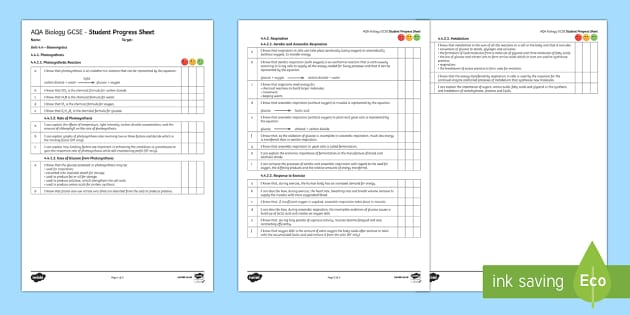 AQA Biology Unit 4.4 Bioenergetics Student Progress Sheet - Student Progress Sheets, AQA, RAG sheet, Unit 4.4 Bioenergetics