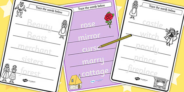 Beauty and the Beast Trace the Words Worksheets - motor skills