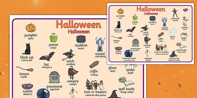 Halloween Word Mat Polish Translation - polish, halloween, word mat, word, mat, celebration, festival