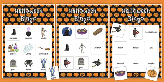 Halloween Themed Bingo and Themed Lotto Activity Pack -  halloween, october, display, information, spooky, activity, fun, activities, numbers, words