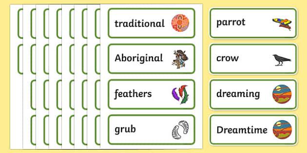 Aborginal Dreamtime How the Birds Got Their Colours Word Cards-Australia