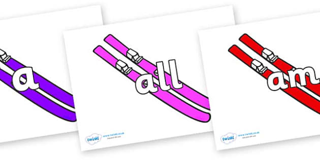 Foundation Stage 2 Keywords on Skis - FS2, CLL, keywords, Communication language and literacy,  Display, Key words, high frequency words, foundation stage literacy, DfES Letters and Sounds, Letters and Sounds, spelling