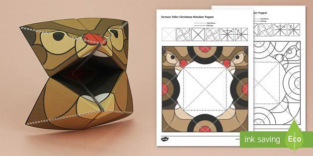 Simple 3D Christmas Reindeer Fortune Teller Puppet Paper Craft - xmas, craft, paper, Christmas, father christmas, saint nicholas, make, origami, rudolph