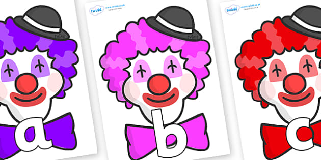 Phoneme Set on Clown Faces - Phoneme set, phonemes, phoneme, Letters and Sounds, DfES, display, Phase 1, Phase 2, Phase 3, Phase 5, Foundation, Literacy