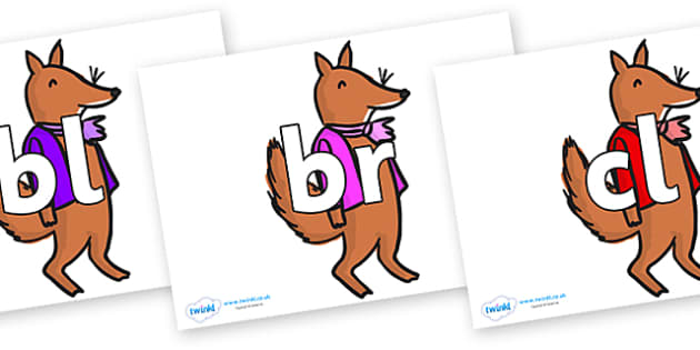 Initial Letter Blends on Small Fox 2 to Support Teaching on Fantastic Mr Fox - Initial Letters, initial letter, letter blend, letter blends, consonant, consonants, digraph, trigraph, literacy, alphabet, letters, foundation stage literacy