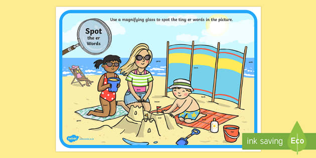 Phase 3 er Words Beach Scene Magnifying Glass Activity Sheet - phonics, letters and sounds, phase 3, er sound, magnifier, magnifying glass, find, Worksheet, activi