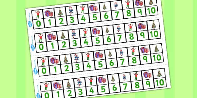 Elf Themed Number Lines 0-10 - number lines, elf, 0-10, number