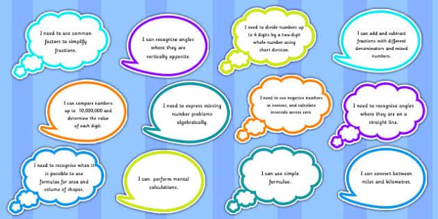 Year 6 Maths Assessment Targets on Speech Bubbles - maths, target