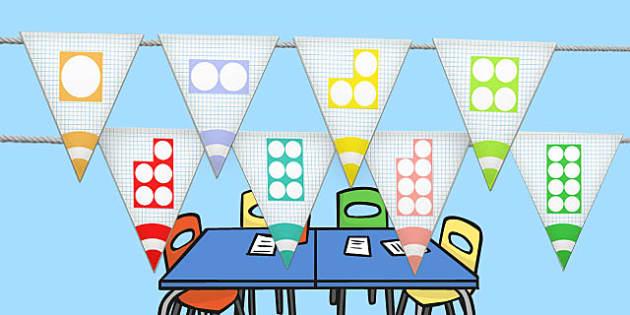 Counting Shape Bunting - Counting, Count, Shape, Maths, Bunting