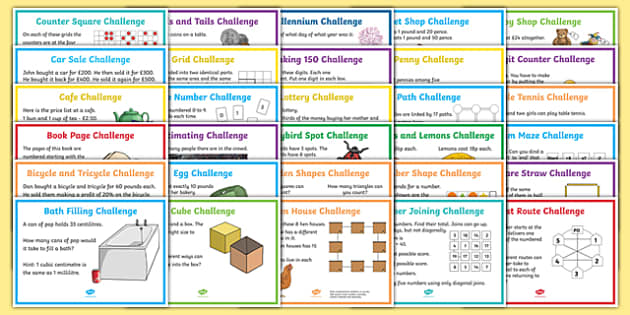 UKS2 Mixed Maths Challenge A4 Display Posters - challenge, poster