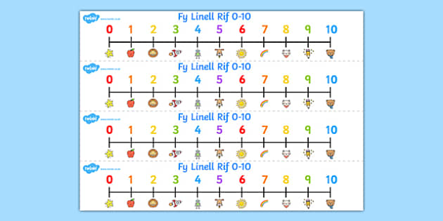 Welsh Number Line 0-10 - welsh, number, line, 0-10, numbers