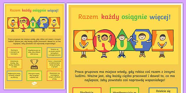 Plakat motywacyjny GRUPA po polsku