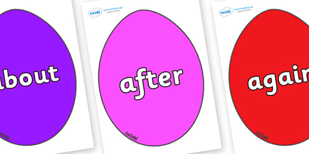 KS1 Keywords on Easter Eggs (Coloured) - KS1, CLL, Communication language and literacy, Display, Key words, high frequency words, foundation stage literacy, DfES Letters and Sounds, Letters and Sounds, spelling