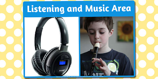 Listening and Music Area Photo Sign - listen, music, area, photo