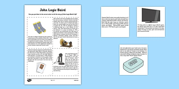 Scottish Significant Individuals John Logie Baird Sequencing Activity Sheet - Scottish significant individual, television, invention, engineer, broadcast, Scottish history, worksheet