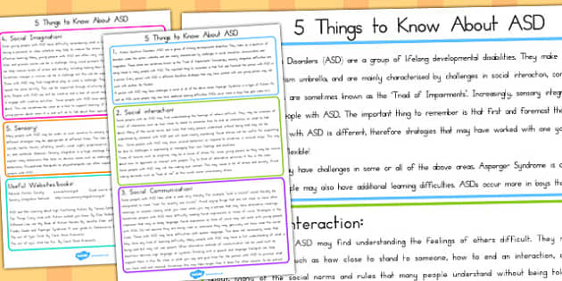 Five Things to Know about ASD - autism, SEN, SEND, autistic