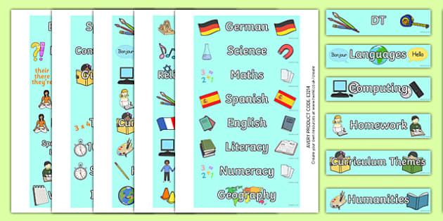 Subject Tray Labels - labels, tray labels, subjects, maths, english, history, french, PE