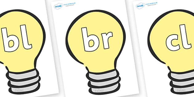 Initial Letter Blends on Lightbulbs (Plain) - Initial Letters, initial letter, letter blend, letter blends, consonant, consonants, digraph, trigraph, literacy, alphabet, letters, foundation stage literacy
