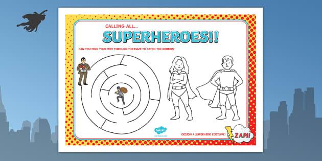 Superhero Themed Birthday Party Activity Place Mats - props