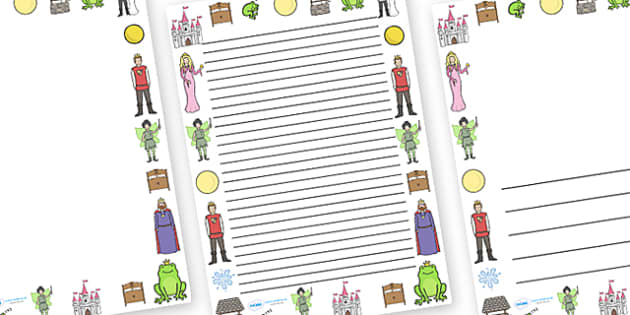 The Frog Prince Page Borders - Frog, princess, prince, evil fairy, splash, kiss, well, king, page border, border, writing template, writing aid, writing,  bed, sleep, golden ball, beautiful, fell, plate, palace, traditional tale, story, book, story r