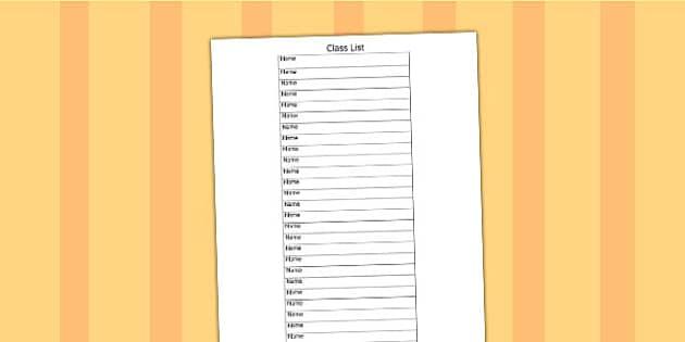 Class List Template class list editable template – Class List Template