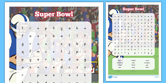 Super Bowl Word Search - usa, super bowl, word search, wordsearch, activity