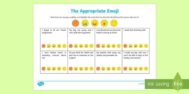 The Appropriate Emoji Activity Sheet - Social Skills, social, text message, texting, emoji, smiley, apathy