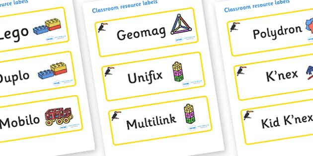 Toucan Themed Editable Construction Area Resource Labels - Themed Construction resource labels, Label template, Resource Label, Name Labels, Editable Labels, Drawer Labels, KS1 Labels, Foundation Labels, Foundation Stage Labels