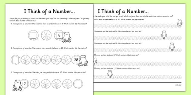 Y1 I think of a Number... Activity Sheet, worksheet