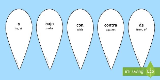 Prepositions Fan Spanish Translation - spanish, prepositions, fan, language