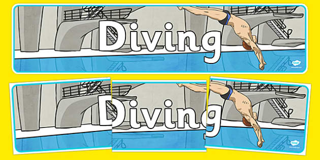 The Olympics Diving Display Banner - Diving, Olympics, Olympic Games, sports, Olympic, London, 2012, display, banner, poster, sign, activity, Olympic torch, events, flag, countries, medal, Olympic Rings, mascots, flame, compete