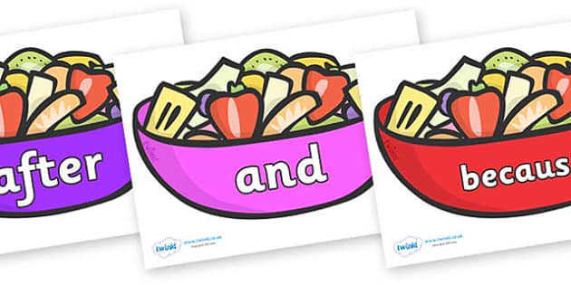 Connectives on Fruit Salad - Connectives, VCOP, connective resources, connectives display words, connective displays