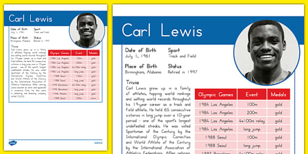 USA Olympians Carl Lewis Fact File