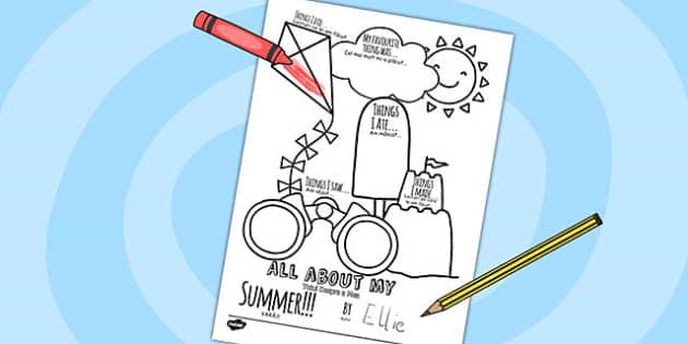 All About My Summer Writing Frame Romanian Translation - romanian