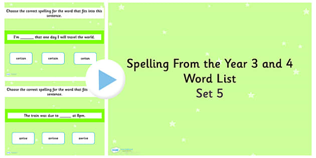 Spelling from the Year 3 and 4 Word List PowerPoint Quiz Set 5