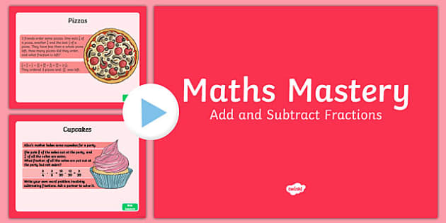 Year 6 Fractions Add and Subtract Maths Mastery Activities PowerPoint