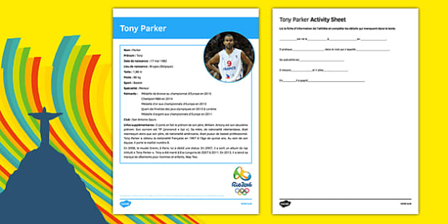 French Olympic Athletes Tony Parker Gap Fill Activity Sheet-French, worksheet