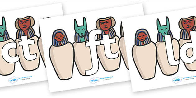 Final Letter Blends on Egyptian Jars - Final Letters, final letter, letter blend, letter blends, consonant, consonants, digraph, trigraph, literacy, alphabet, letters, foundation stage literacy