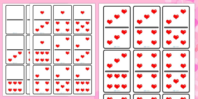 Valentine's Day Heart Dominoes Set - valentines day, valentines day dominos, valentines day dominoes, heart dominoes, heart dominos, valentines heart dominoes, activity, game, fun, counting, numbers