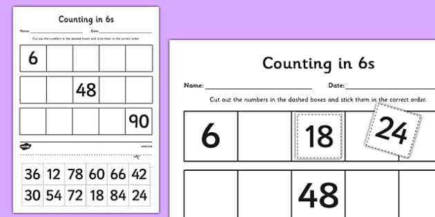 Counting in 6s Cut and Stick Activity Sheet - counting, count, cut and stick, activity, 6s, worksheet