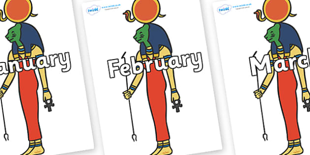 Months of the Year on Egyptian Icons - Months of the Year, Months poster, Months display, display, poster, frieze, Months, month, January, February, March, April, May, June, July, August, September