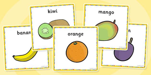 Fruit Salad Word Cards - fruit salad, fruits, cards, activity, salad