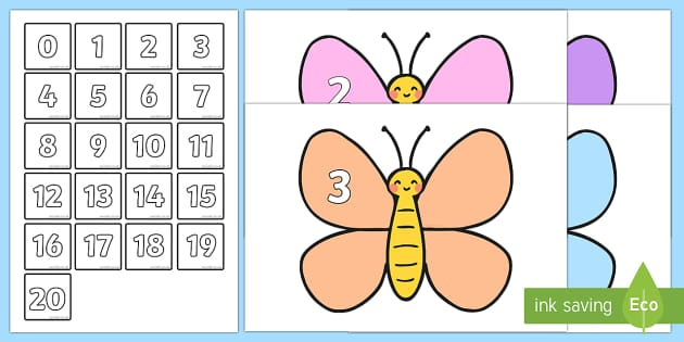 Butterfly Number Bonds to 20 Matching - butterfly, number bonds, 20, matching, match