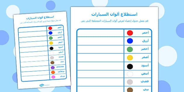استطلاع عن ألوان السيارات - استطلاع، استبيان، موارد تعليمية
