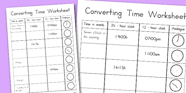 Converting Time Worksheet - australia, time, worksheet, converting