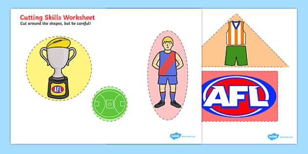 AFL Australian Football League Cutting Skills Worksheet - sport